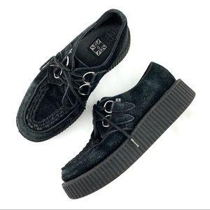 TUK Black Suede Platform Shoes Size 8